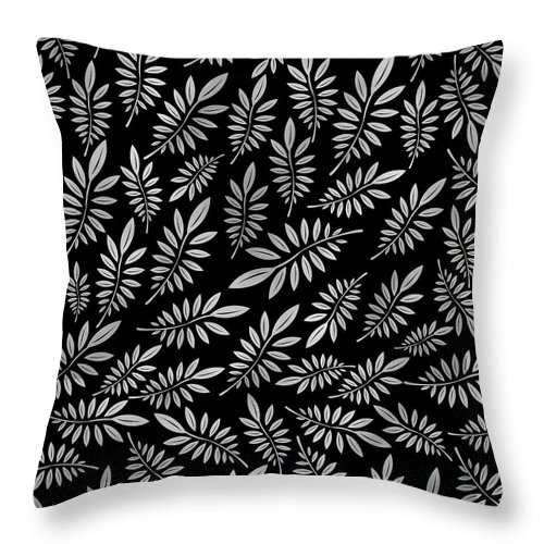 Pattern Throw Pillow featuring the digital art Silver Leaf Pattern 2 by Stanley Wong