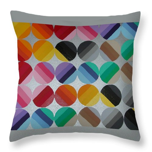 Circles Of Yellow Throw Pillow featuring the painting Silver Lining by Gay Dallek