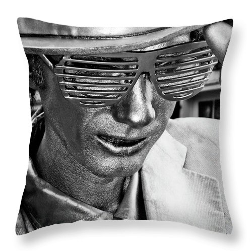 New Orleans Throw Pillow featuring the photograph Silver Man Mime by Kathleen K Parker