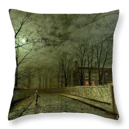 Silver Moonlight Throw Pillow featuring the painting Silver Moonlight by John Atkinson Grimshaw