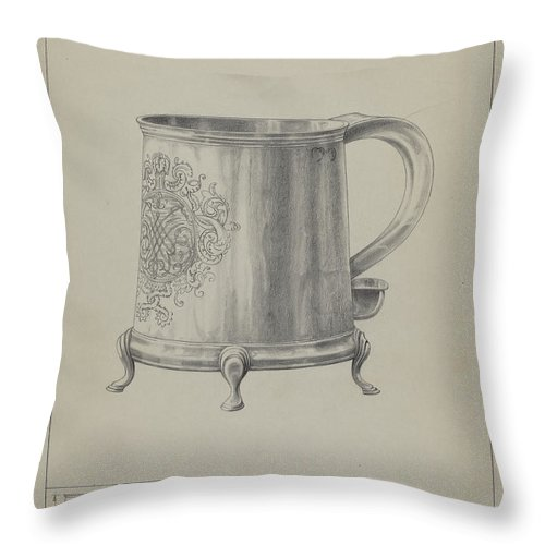 Throw Pillow featuring the drawing Silver Mug by Simon Weiss And Charlotte Winter