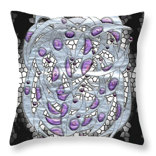Abstract Throw Pillow featuring the digital art Silver On Stained Glass by Mark Sellers