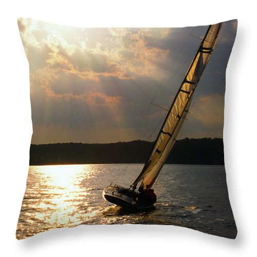 Lake Throw Pillow featuring the photograph Silver Passage - Lake Geneva Wisconsin by Bruce Thompson