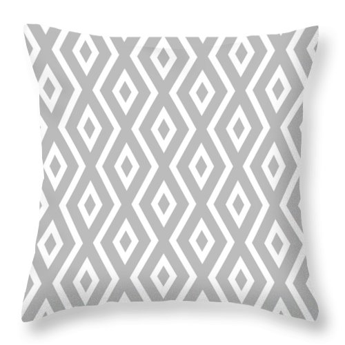 Silver Throw Pillow featuring the mixed media Silver Pattern by Christina Rollo