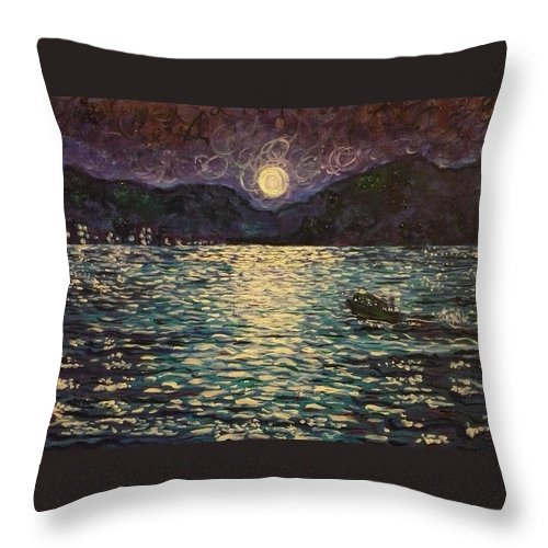 Landscape Throw Pillow featuring the painting Silver Sea by Ericka Herazo