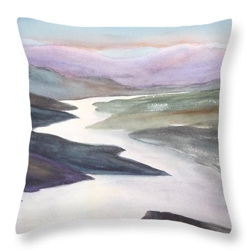 River Throw Pillow featuring the painting Silver Stream by Ruth Kamenev