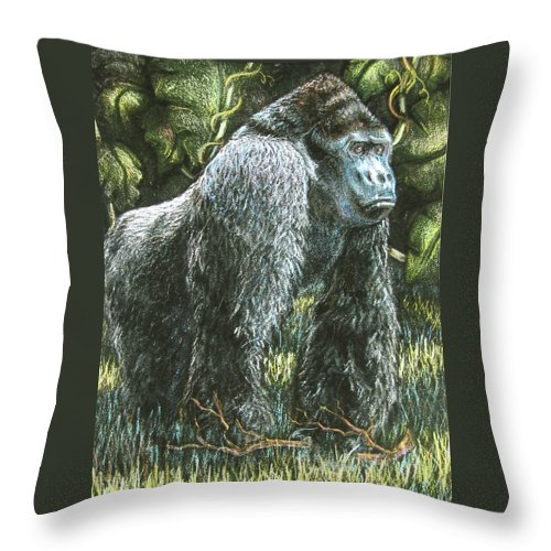 Fuqua - Artwork Throw Pillow featuring the drawing Silverback-king Of The Mountain Mist by Beverly Fuqua