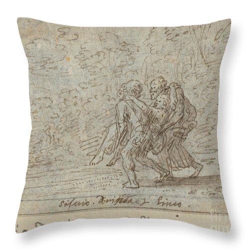 Throw Pillow featuring the drawing Silvio, Dorinda And Linco by Johann Wilhelm Baur