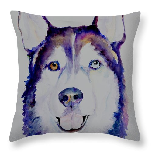 Siberian Husky Throw Pillow featuring the painting Simba by Pat Saunders-White