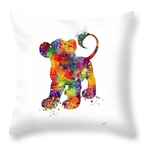Children Art Print Throw Pillow featuring the digital art Simba The Lion King Watercolor Art by Svetla Tancheva