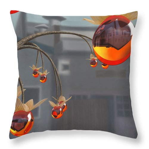 Orange Throw Pillow featuring the painting Simmondsia Vitra by Patricia Van Lubeck
