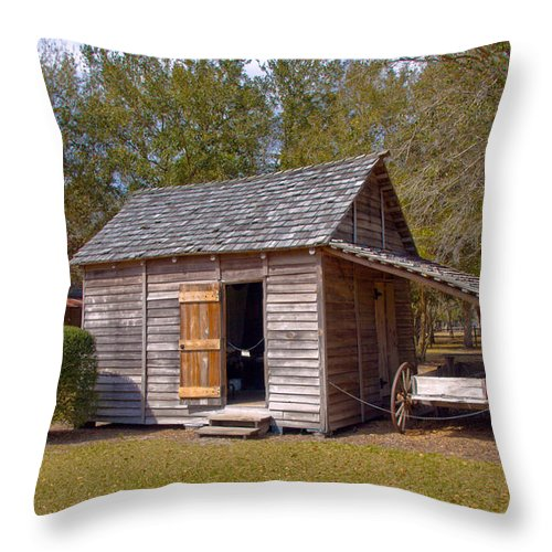 Cabin Throw Pillow featuring the photograph Simmons Cabin Built In 1873 In Orange County Florida by Allan Hughes