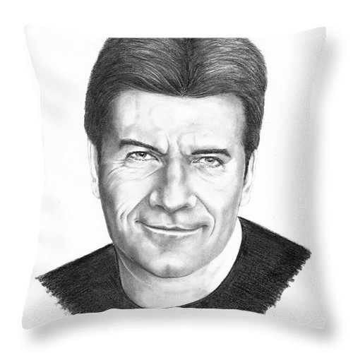 Portrait Throw Pillow featuring the drawing Simon Cowell by Murphy Elliott