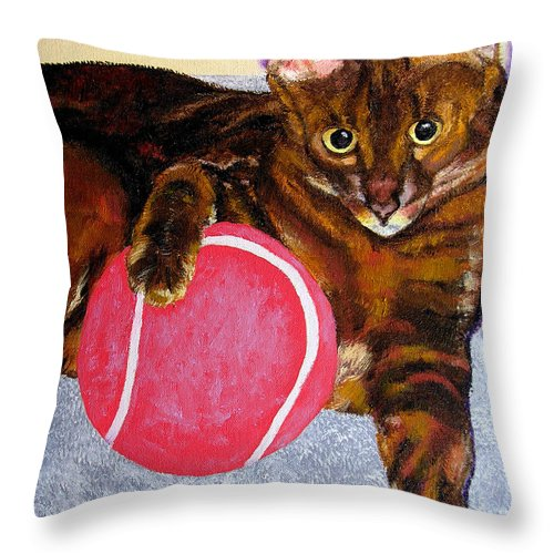 Cat Throw Pillow featuring the painting Simon by Stan Hamilton