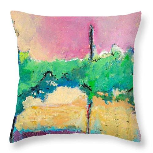 Vineyard Throw Pillow featuring the painting Simpatico by Kurt Hausmann