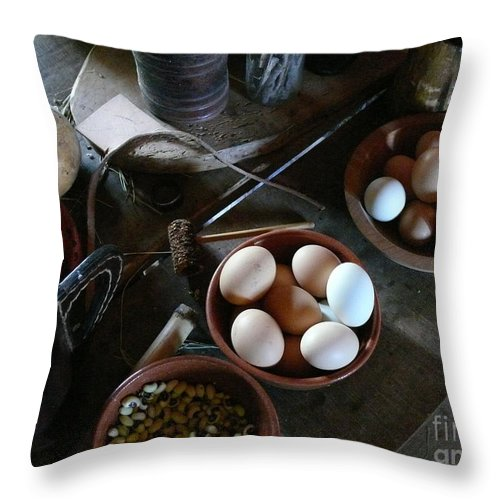 George Ranch Throw Pillow featuring the photograph Simple Farmers Table by Mark Grayden