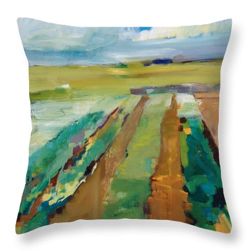 Impressionistic Landscape Throw Pillow featuring the painting Simple Fields by Michele Norris