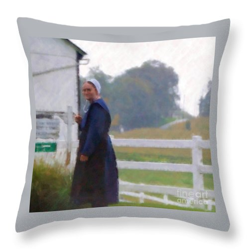 Amish Throw Pillow featuring the photograph Simple Living by Debbi Granruth