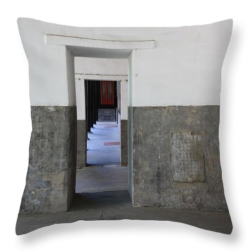 Temple Doors Throw Pillow featuring the photograph Simplicity by Carol Groenen