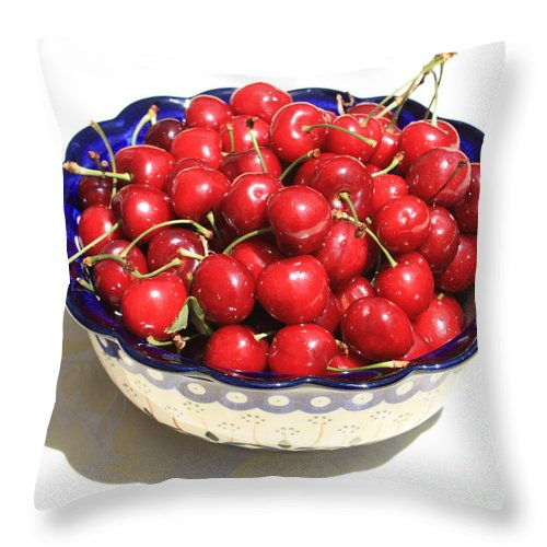 Cherries Throw Pillow featuring the photograph Simply A Bowl Of Cherries by Carol Groenen