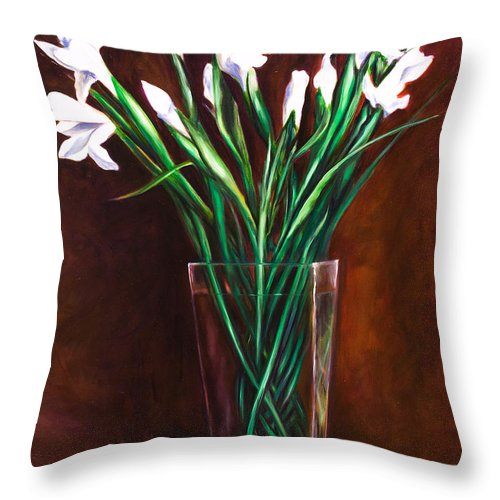 Iris Throw Pillow featuring the painting Simply Iris by Shannon Grissom