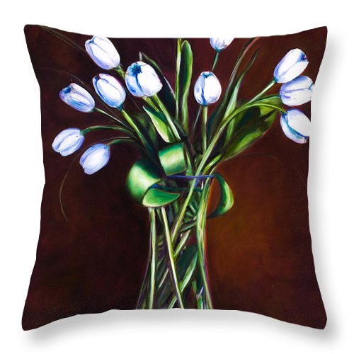 Shannon Grissom Throw Pillow featuring the painting Simply Tulips by Shannon Grissom