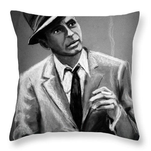 Frank Sinatra Throw Pillow featuring the drawing Sinatra by Laura Rispoli