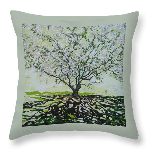 Apple Tree Throw Pillow featuring the painting Sincerely-the Curator by Leah Tomaino