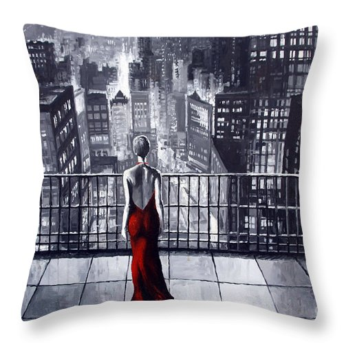 Oil Throw Pillow featuring the painting SinCity by Yuriy Shevchuk