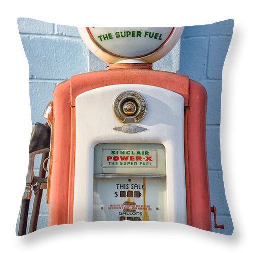 Fineartamerica Throw Pillow featuring the photograph Sinclair Power-x Gas Pump by Barry Cruver