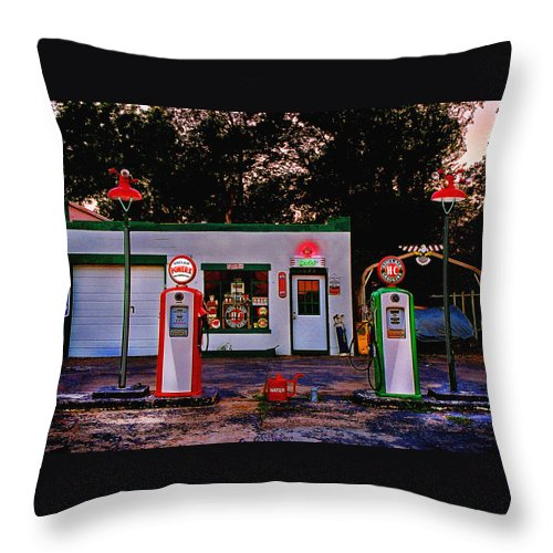 Gas Station Throw Pillow featuring the photograph Sinclair by Steve Karol