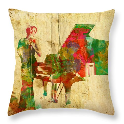 Singer Throw Pillow featuring the digital art Sing It Baby One More Time by Nikki Smith