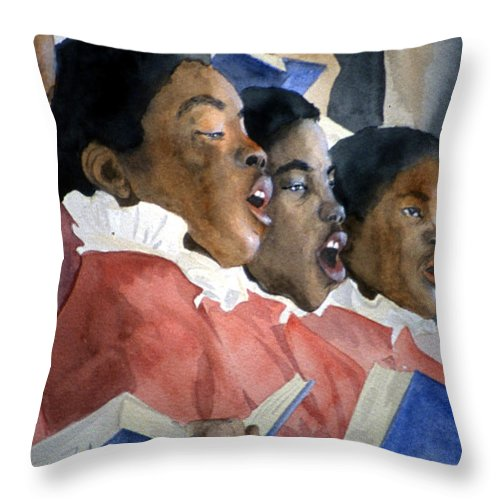 Choir Throw Pillow featuring the painting Sing Out Your Joy by Jean Blackmer