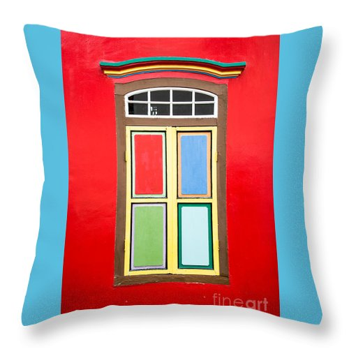 Window Throw Pillow featuring the photograph Singapore Red Window by Delphimages Photo Creations