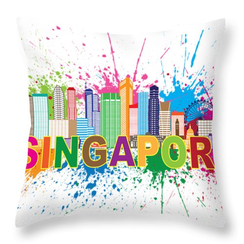 Singapore Skyline Paint Splatter Text Illustration Throw Pillow