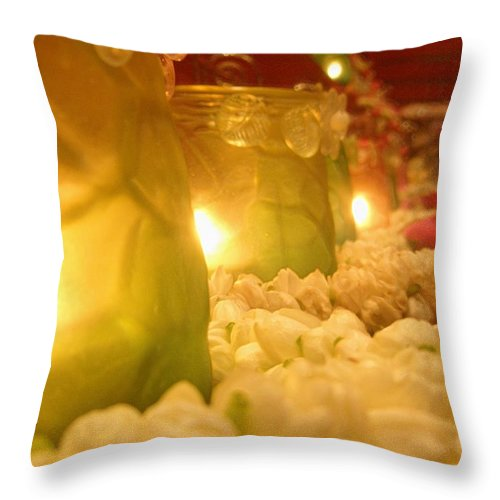 Singapore Temple Religion Buddhism Candle Lamp Light Chinese Chinatown Culture Tradition Flowers Throw Pillow featuring the photograph Singapore Temple Offering Lamps 2 by Mark Sellers