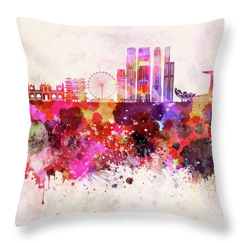 Singapore V2 Skyline In Watercolor Background Throw Pillow for