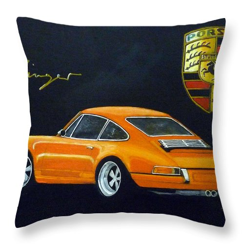 Cars Throw Pillow featuring the painting Singer Porsche by Richard Le Page