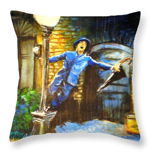 Singin In The Rain Throw Pillow featuring the painting Singin In The Rain by Seth Weaver
