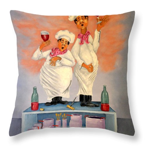 Singing Chefs Throw Pillow featuring the painting Singing Chefs by Barney Napolske