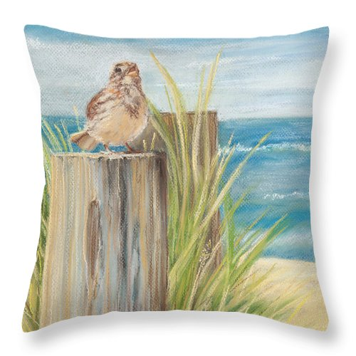Bird Throw Pillow featuring the pastel Singing Greeter At The Beach by Michelle Constantine