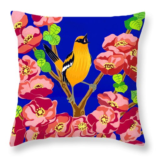 Nature Throw Pillow featuring the drawing Singing Oriole by Lucyna A M Green