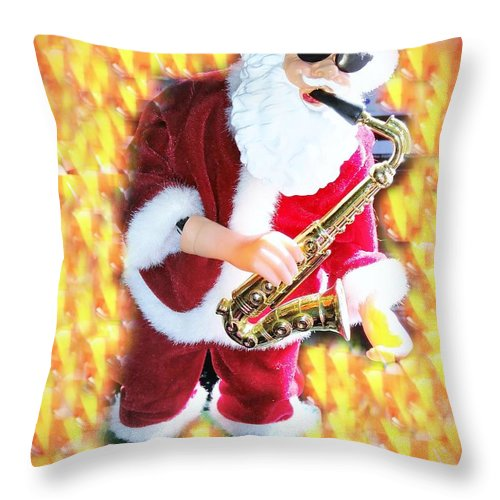 Throw Pillow featuring the photograph Singing Santa by Miriam Marrero