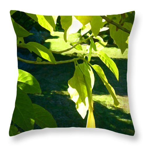 Spring Throw Pillow featuring the painting Single Angel's Trumpet by Amy Vangsgard