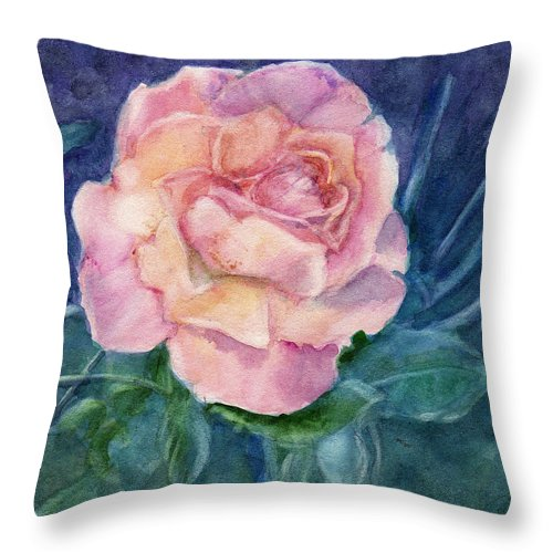 Watercolor Throw Pillow featuring the painting Single Rose On Clayboard by Katherine Berlin