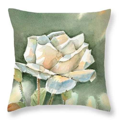 Rose Throw Pillow featuring the painting Single White Rose by Arline Wagner