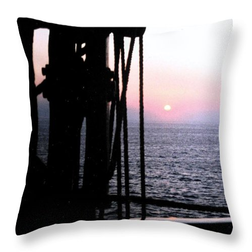 Ship Throw Pillow featuring the photograph Sinking Sun by Ian MacDonald
