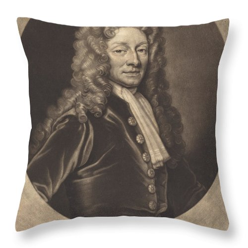 Throw Pillow featuring the drawing Sir Christopher Wren by John Smith After Sir Godfrey Kneller