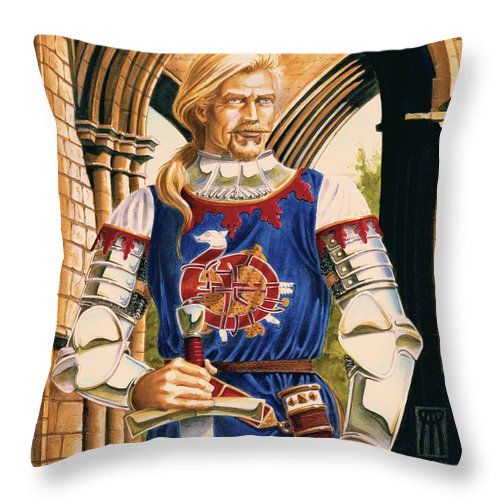 Swords Throw Pillow featuring the painting Sir Dinadan by Melissa A Benson