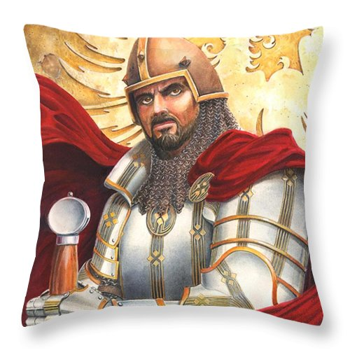 Swords Throw Pillow featuring the drawing Sir Gawain by Melissa A Benson